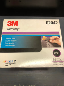3M Wetordry sand paper 240 single sheet
