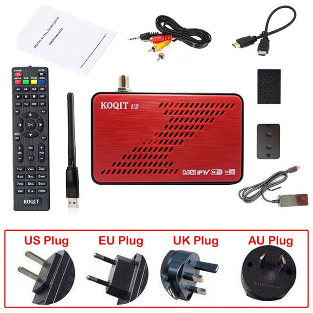 Koqit U2 DVB S2 satellite receiver satellite Finder Internet Scam Cs Biss VU decoder iPTV DVB-S2 Receptor USB Wifi/RJ45 Youtube - Mar. sale & service