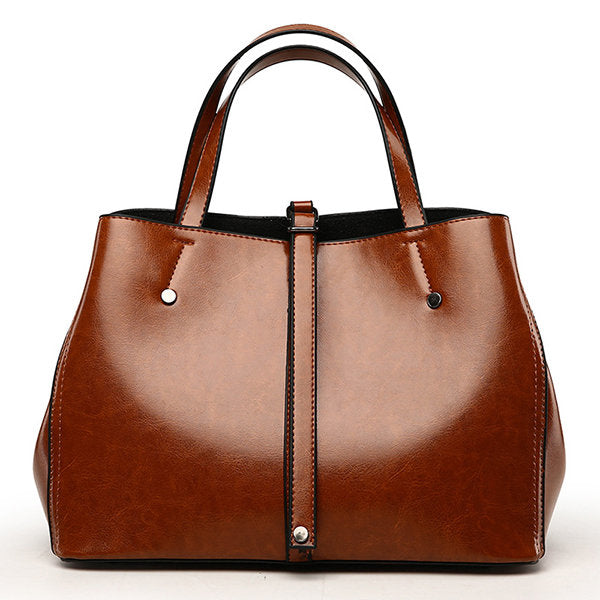 Leather Tote Bag Oil Wax Brown Tote Bags GiOli Shop