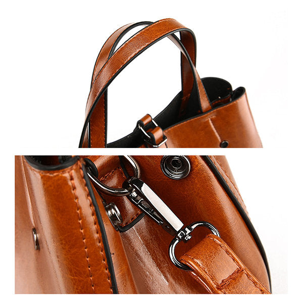 Leather Tote Bag Oil Wax  Tote Bags GiOli Shop