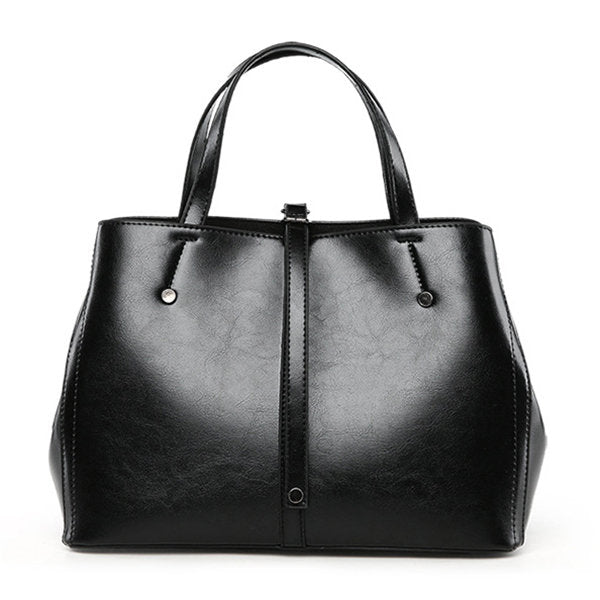 Leather Tote Bag Oil Wax Black Tote Bags GiOli Shop