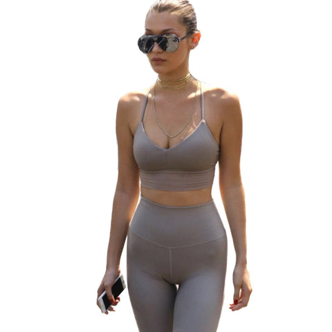Summer 2 piece set women tracksuit solid sleeveless
