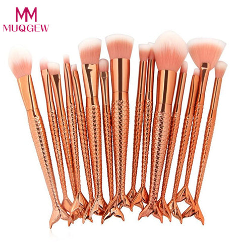 15Pcs Mermaid Makeup Brushes Set Fish tail Foundation Powder Eyeshadow Make up Brushes Gold Cosmetic Tools pinceaux maquillage