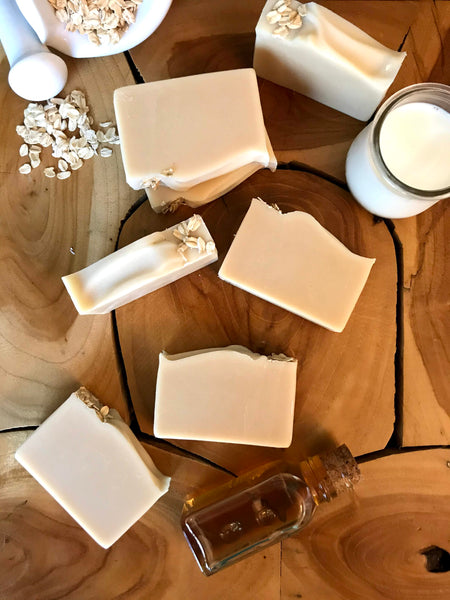 oatmeal milk and honey natural handmade unscented soap bookish apothecary