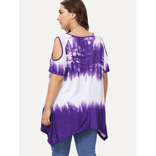 Plus Tie Dye Cold Shoulder Asymmetric Tee