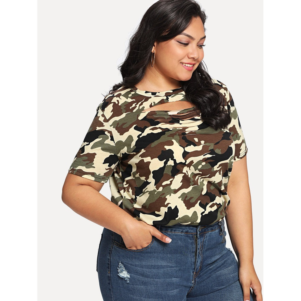 Plus Ladder Cut Out Camouflage Tee