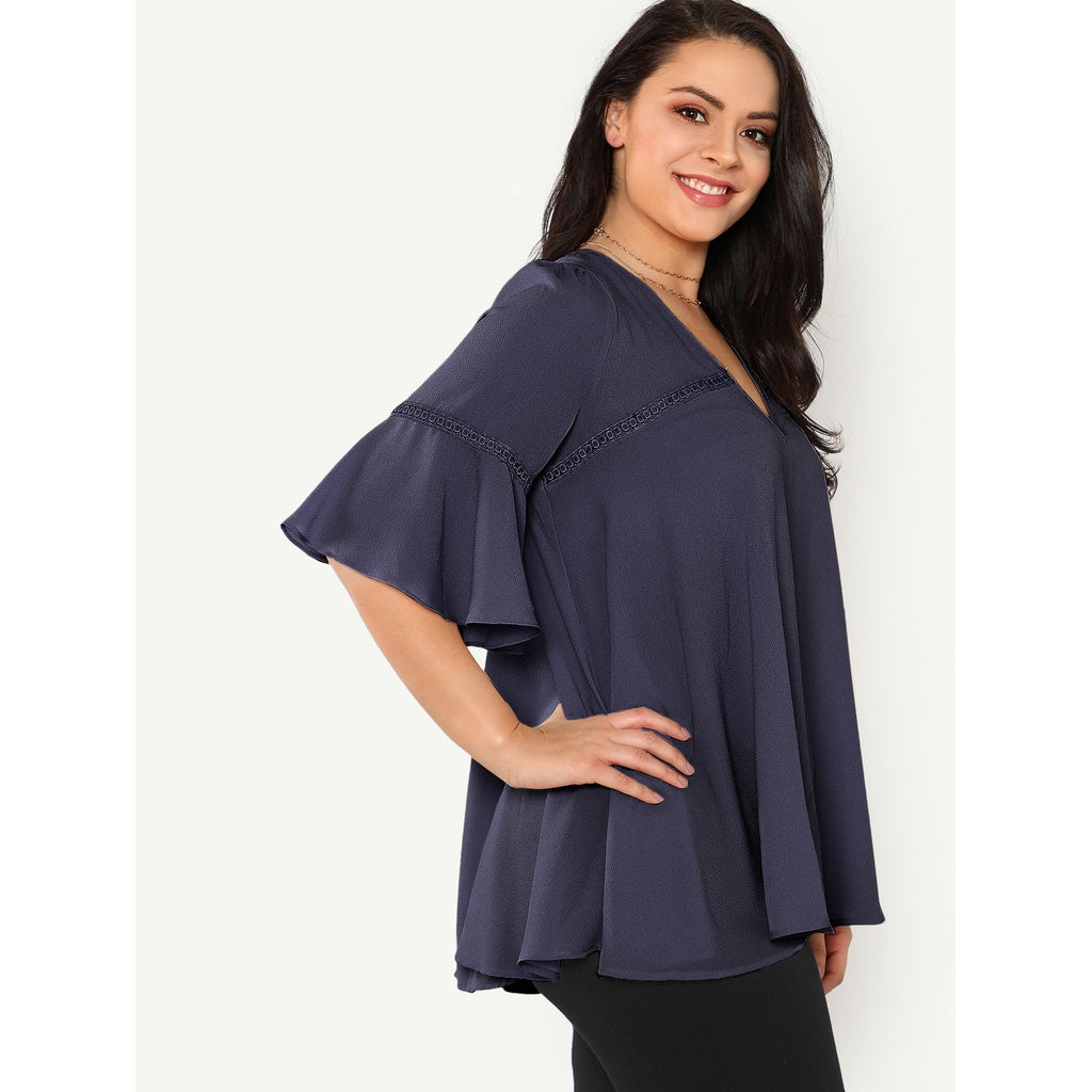 Plus Grommet Lace Up Back Circle Crochet Detail Top