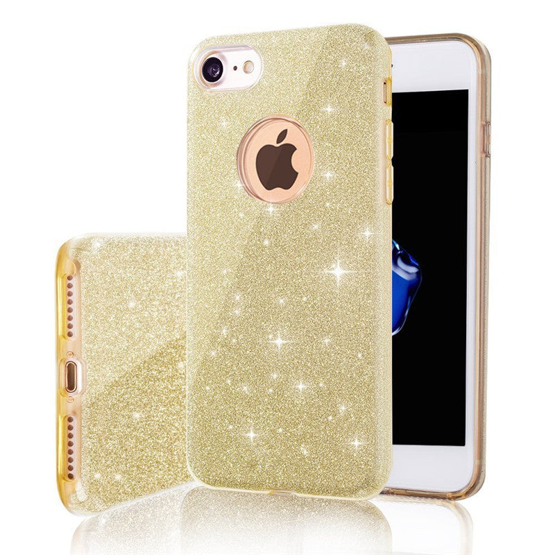 3 IN 1 Gradient Glitter Cover for iphone 5 5S SE 6 plus 6s plus Case Clear PC+TPU Coque 7 8 plus X Cases Bling Fashion