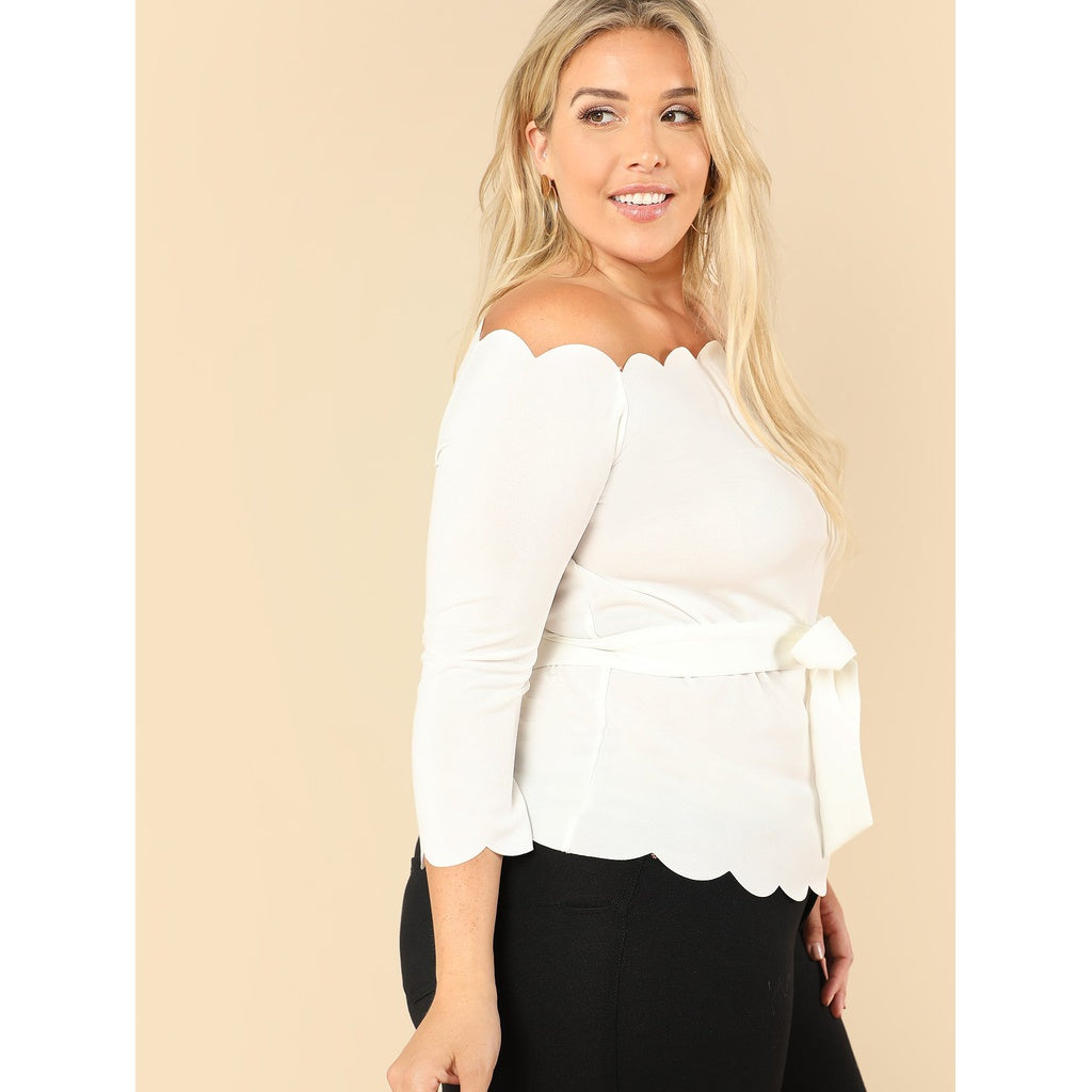 Plus Self Tie Scallop Off The Shoulder Top