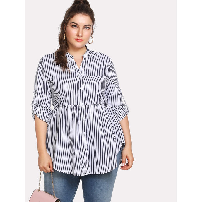 Plus Rolled Sleeve Curved Hem Striped Shirt