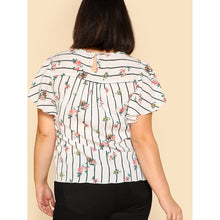Plus Flutter Sleeve Striped & Floral Top