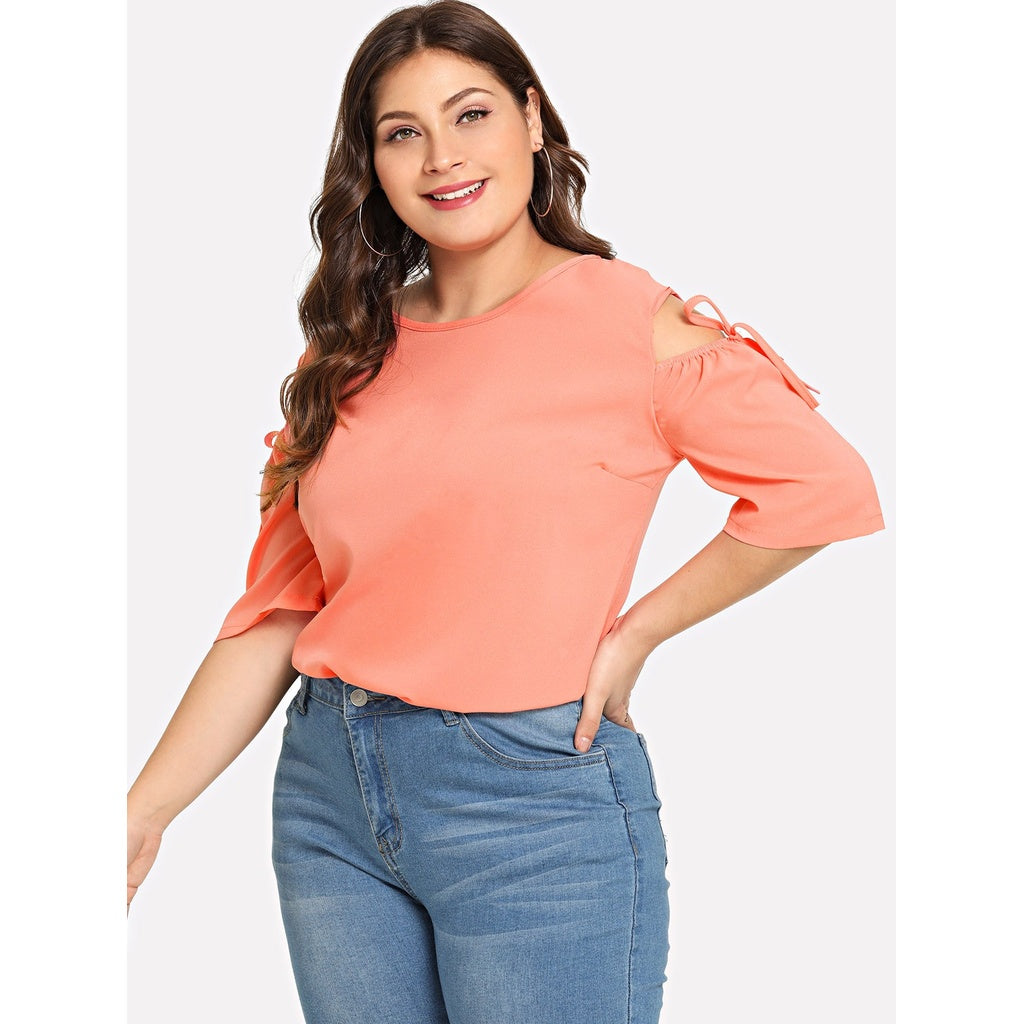 Plus Cold Shoulder Drawstring Sleeve Keyhole Back Top