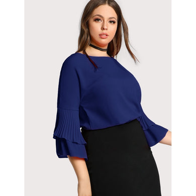 Plus Pleated Ruffle Sleeve Top