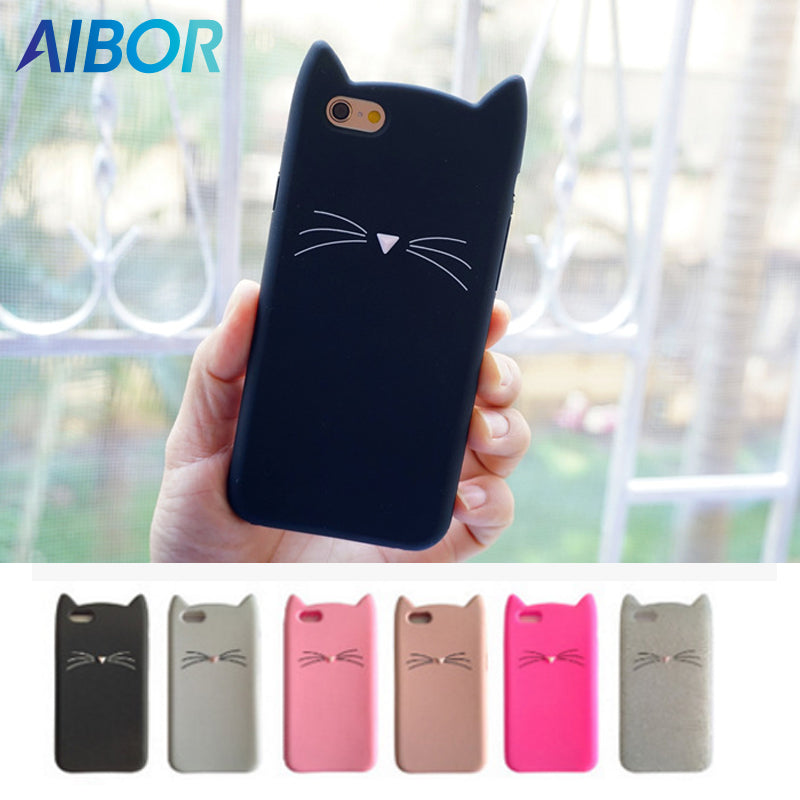 AIBOR For iPhone 7 Case 3D Cute Cartoon Animal Beard Cat Ear Phone Case For iPhone X 5S SE 6 6S 7 8 Plus Silicon Soft TPU Fundas