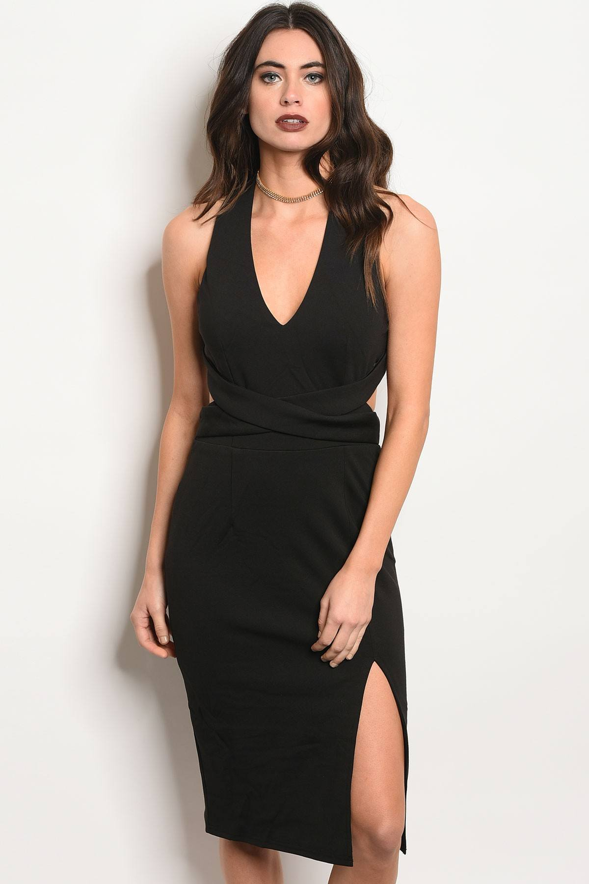 Ladies fashion sleeveless fitted bodycon dress with a v neckline and thigh slit