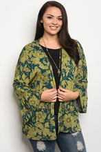 Ladies fashion plus size light weight floral print cardigan that features long sleeves