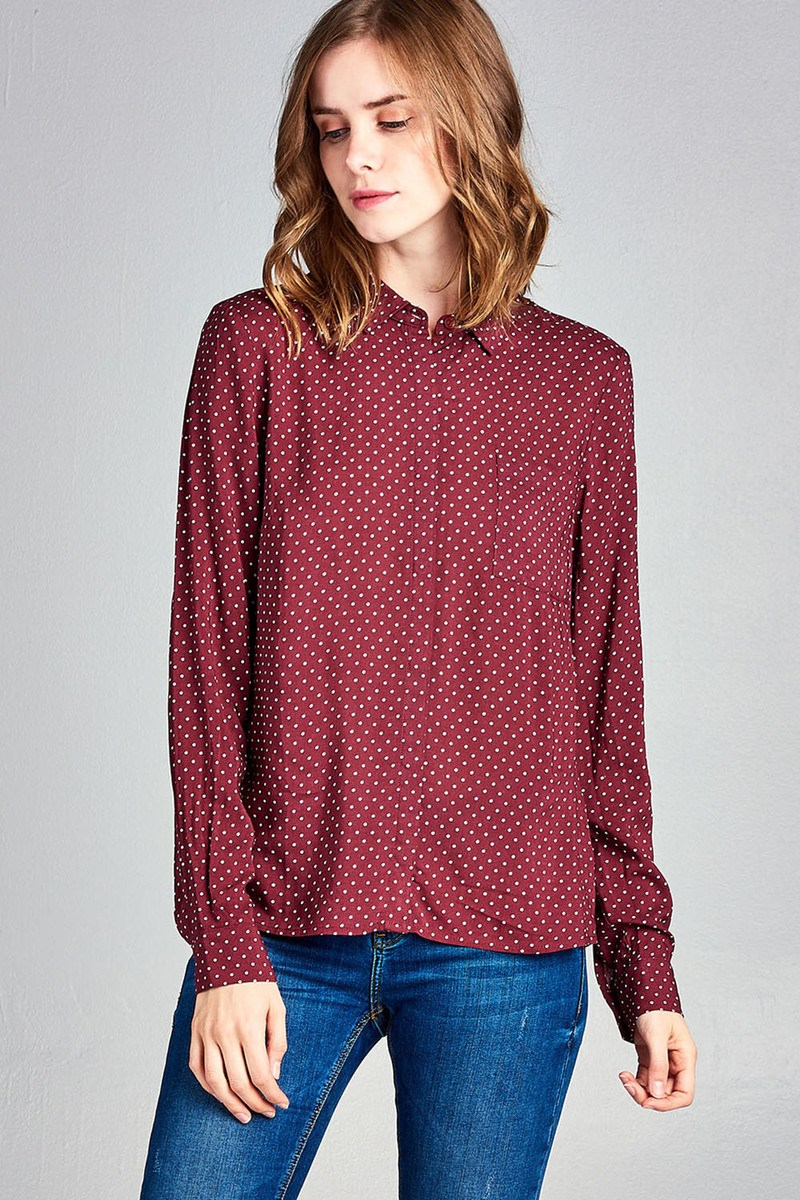 Ladies fashion long sleeve w/pocket dot print rayon challis woven top