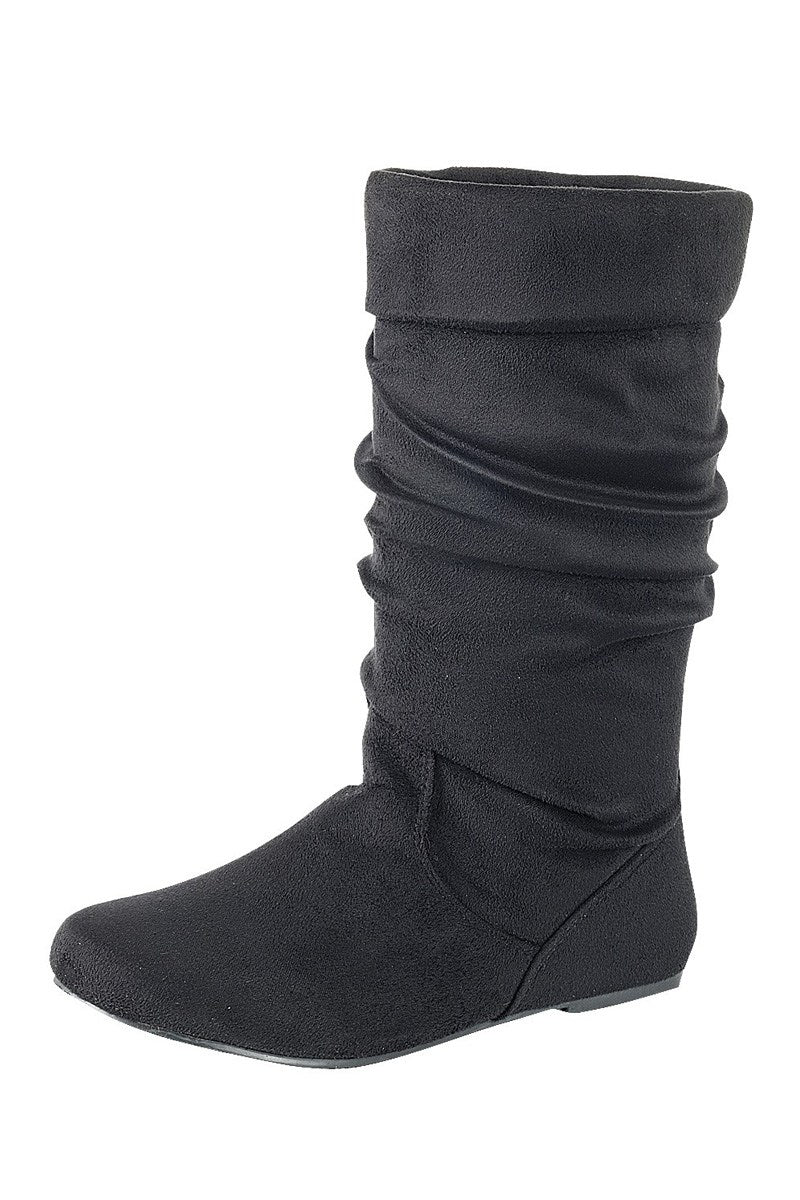 Ruched wedge boot is a chic knee-high boot, closed almond toe, micro wedge heel