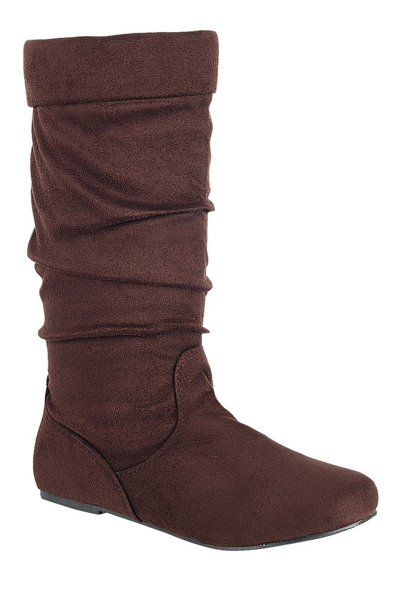 Ruched wedge boot is an edgy, knee-high boot, closed almond toe, micro wedge heel