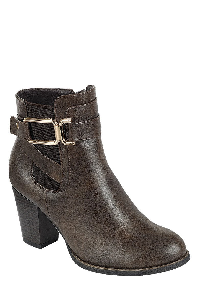 Nubuck boot with thick block heel, closed almond toe, block heel, slip on