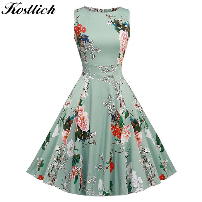 Kostlich Floral Print Summer Dress Women 2018 Sleeveless Tunic 50s Vintage Dress Belt Elegant Rockabilly Party Dresses Sundress 1