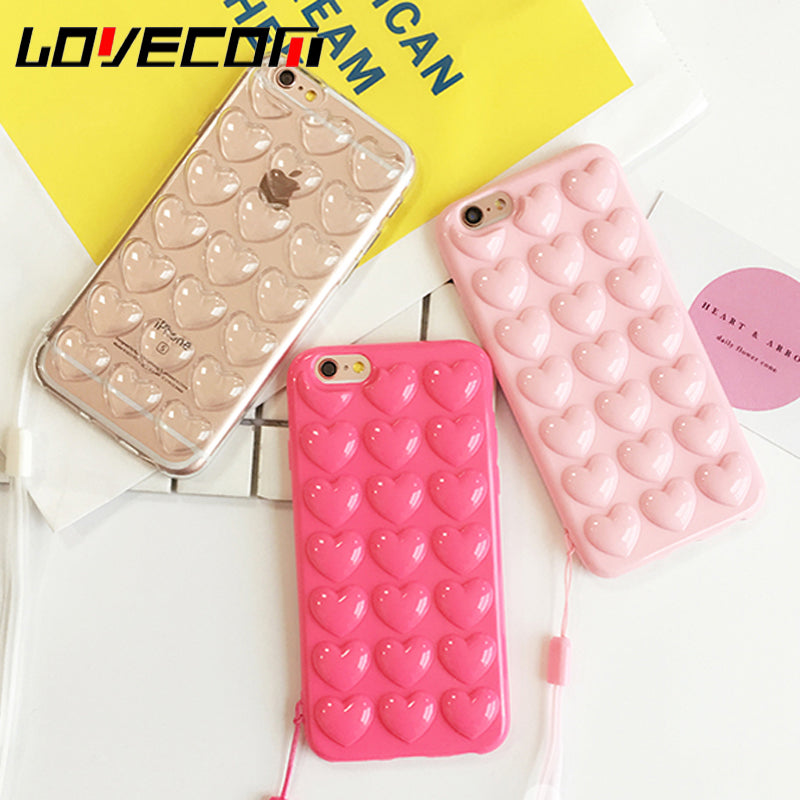 LOVECOM Korean Love Heart Jelly Candy Soft Silicon TPU Back Cover With Lanyard Phone Case For iphone 5 5S SE 6 6S 7 Plus Coque