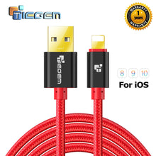 TIEGEM 1/2/3M 2A Nylon USB Charger Cable for iPhone 5 5s 6 6s 7 Plus iOS 9 10 Fast Charging Cables for iPad Phone Accessories