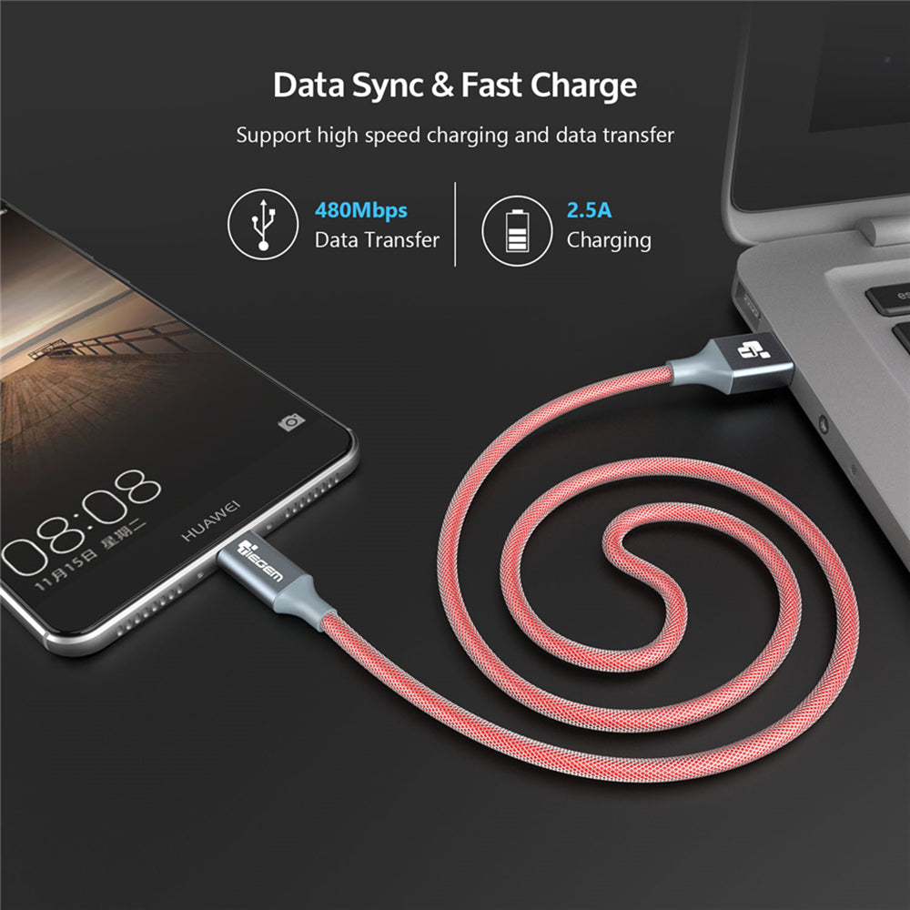 TIEGEM USB Type C Cable USB 3.1 Type-C Nylon Cable Data Sync Fast Charge USB C Cable for NEXUS 5X 6P Macbook LG G5 Xiaomi 5