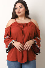Tassel Bell Sleeve Cold Shoulder Top