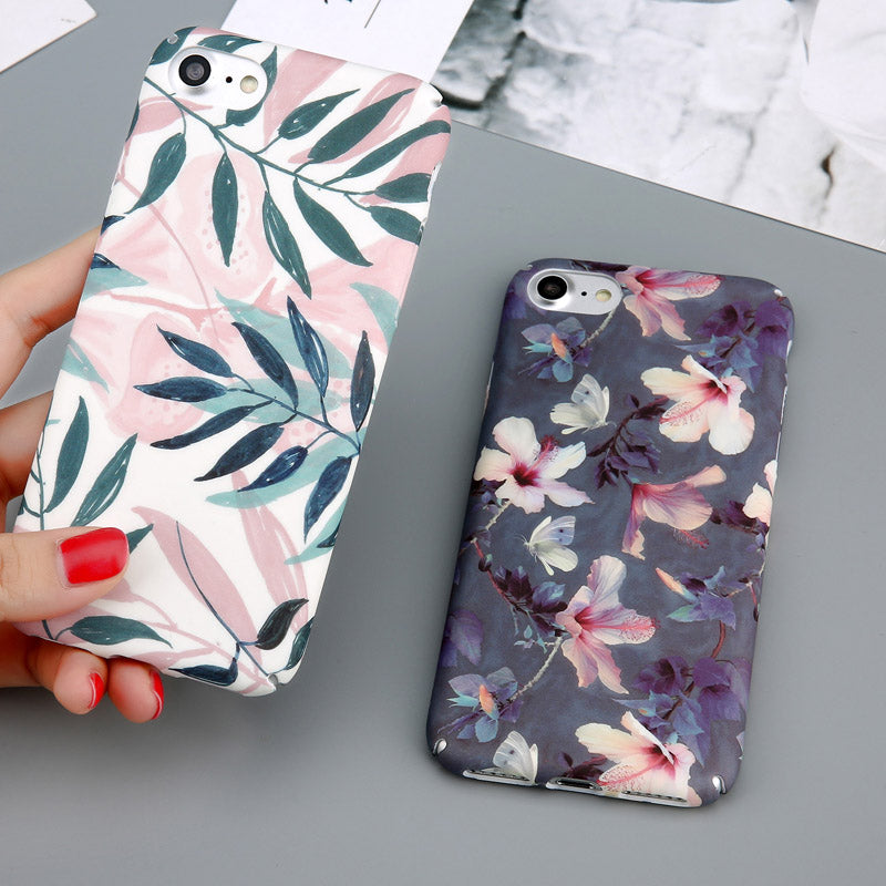 USLION Case For iPhone 6 Flower Cherry Tree Hard PC Phone Cases Candy Colors Leaves Print Cover Coque For iPhone 6 6s 7 8 Plus