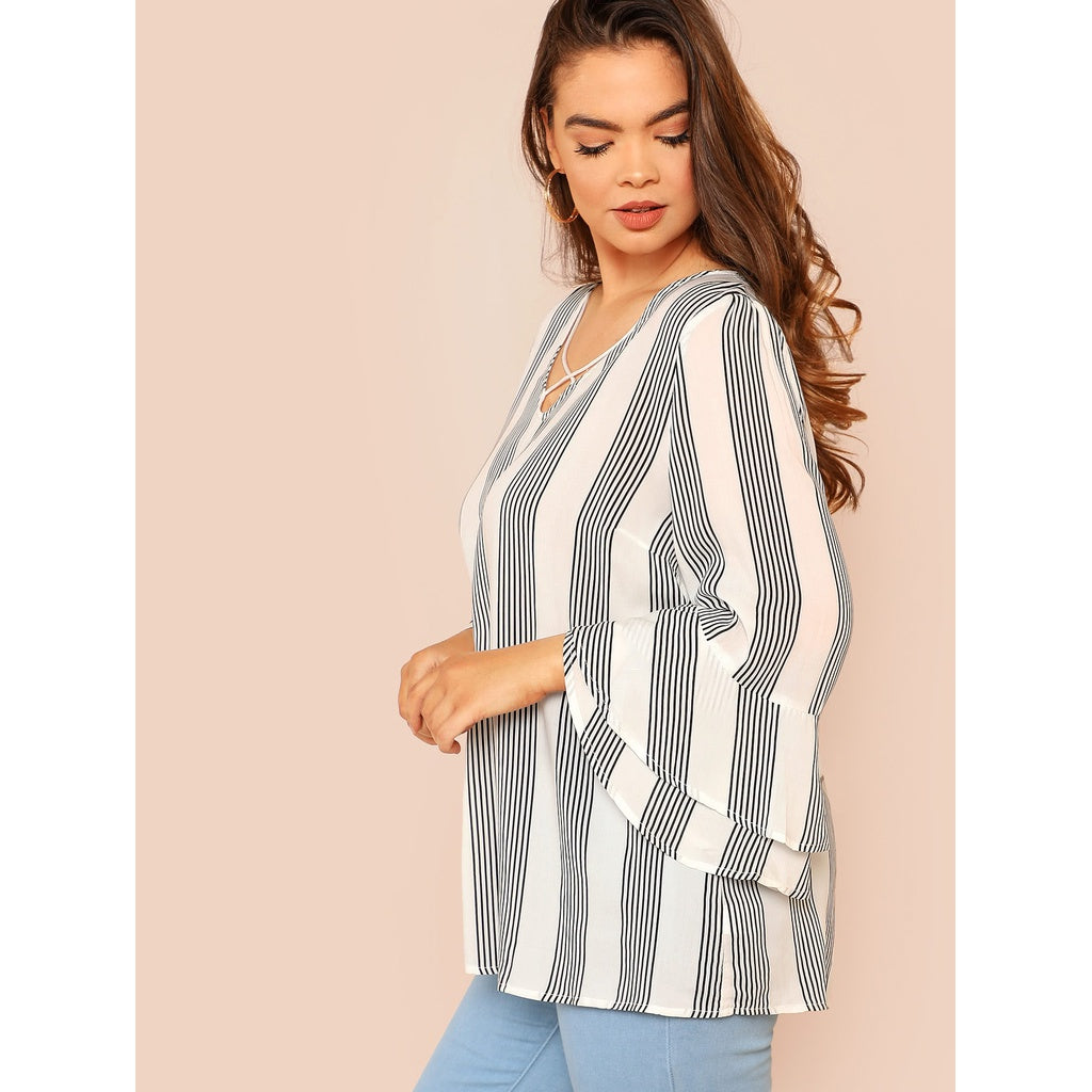 Plus Criss Cross Front Flounce Sleeve Striped Blouse