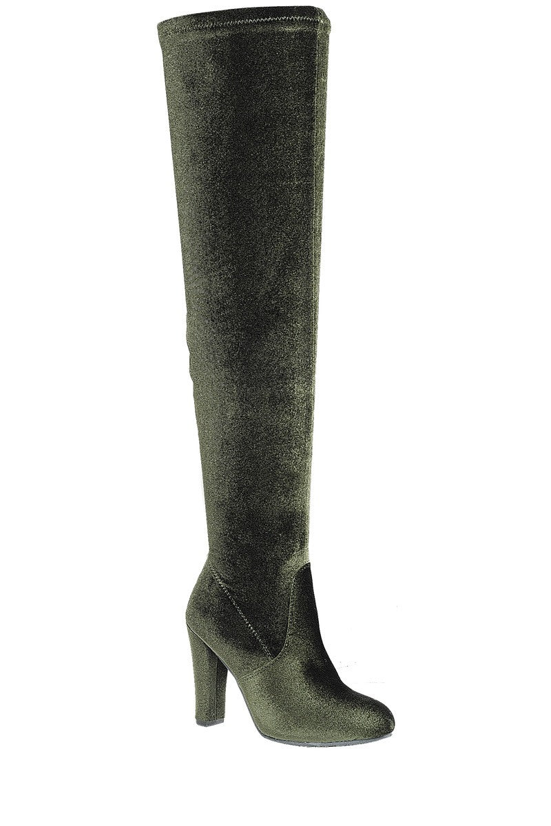 Ladies fashion velvet over-the-knee boot, closed almond toe, block heel, zipper closure