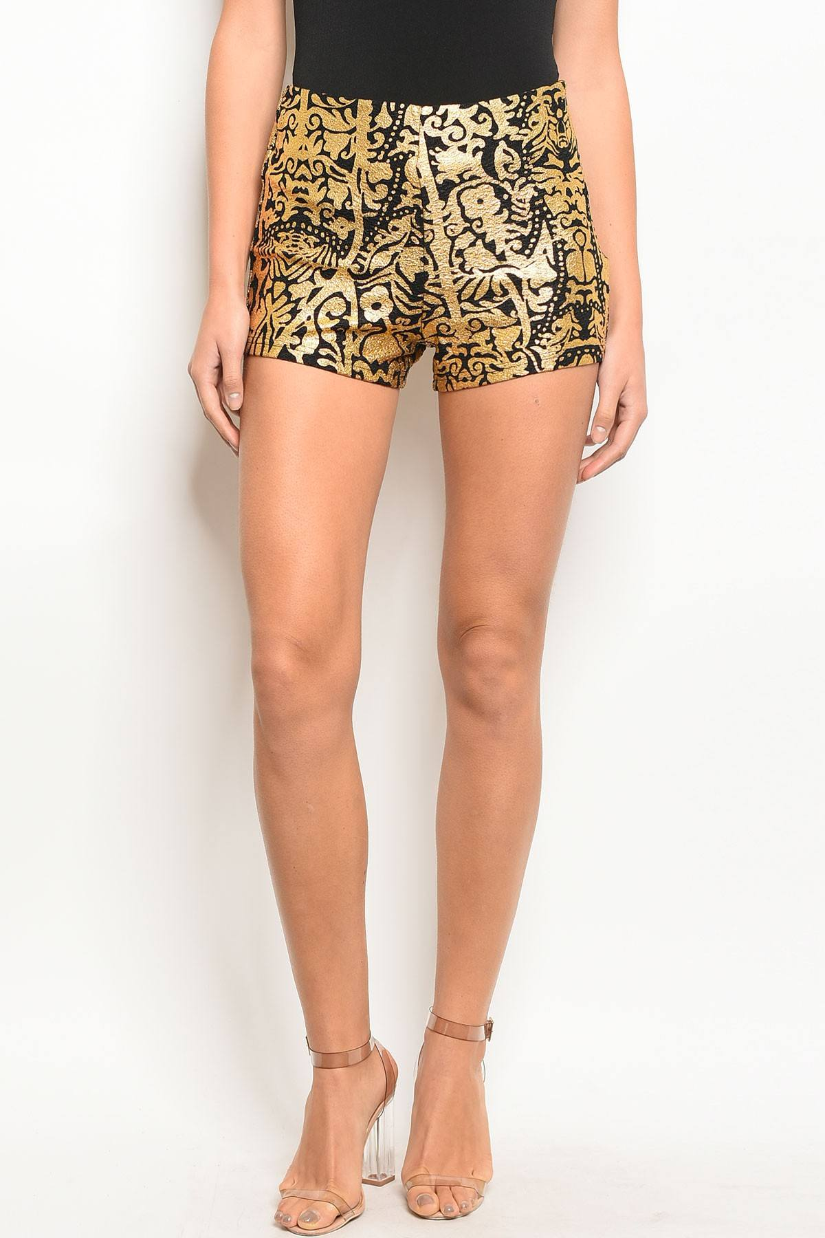 Ladies fashion black and gold detailed shorts with a zipper closure