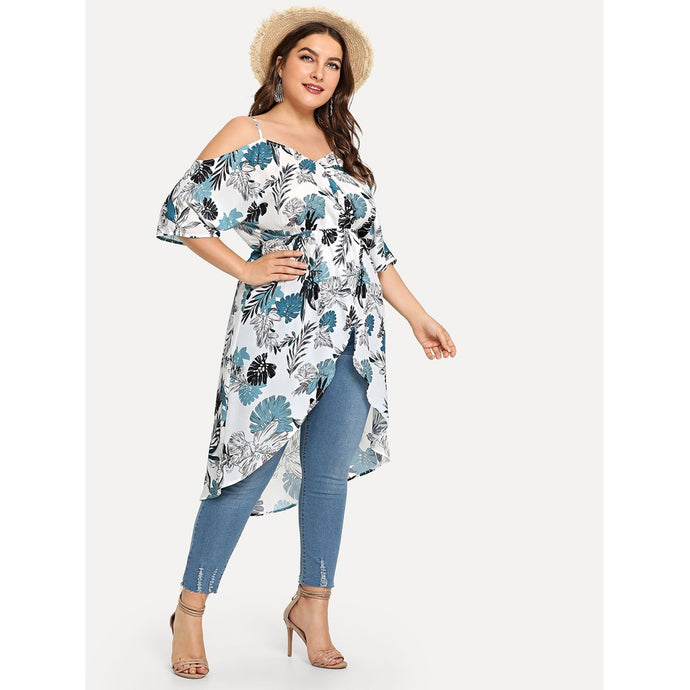 Plus Jungle Print Cold Shoulder Overlap Blouse