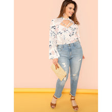 Plus Crisscross Cut Out Neck Bell Sleeve Top