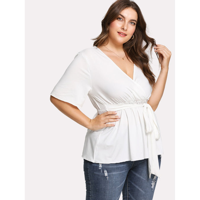Plus Deep V Neck Knot Front Tee