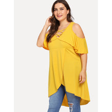 Plus Crisscross Neck Flounce Cold Shoulder Wrap Top