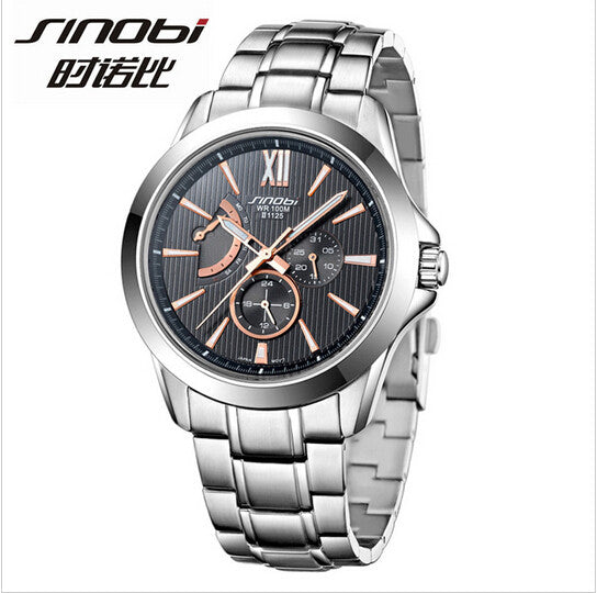 Men's SINOBI top brand luxury waterproof steel watch