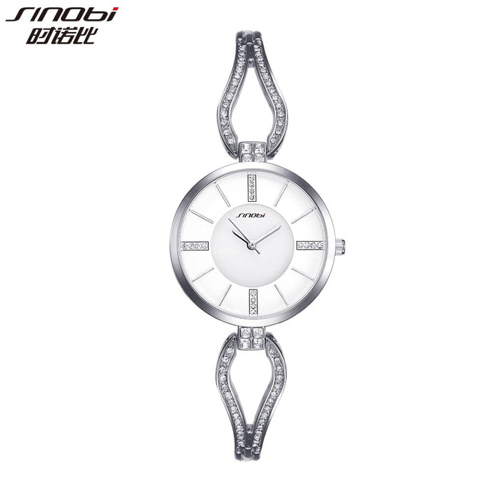 SINOBI top brand diamond bracelet ladies watch