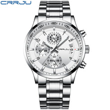 Men's CRRJU Chronograph Luxury Waterproof Watches, Fashion Black Business Stainless Steel Clock For Men