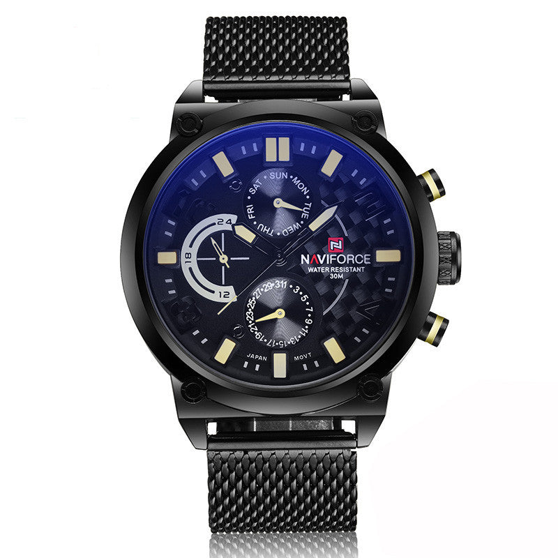 Men's NAVIFORCE Luxury Brand Analog Quartz 24 Hour Date Waterproof Clock Men Sport Full Steel Wrist Watch