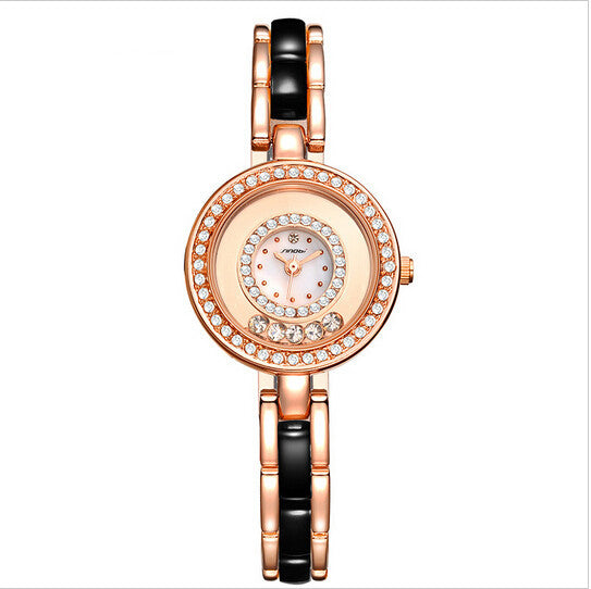 SINOBI fashion bracelet ladies luxury diamond quartz steel watch