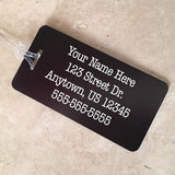 Adventure Awaits Personalized Aluminum Luggage Tag - Black Dog Engraving