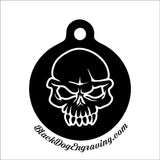 Angry Skull Personalized Engraved Pet Tag - Black Dog Engraving