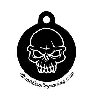 Angry Skull Personalized Engraved Pet Tag