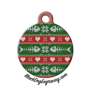 Cat Fish Bone Ugly Christmas Sweater Engraved Pet ID Tag