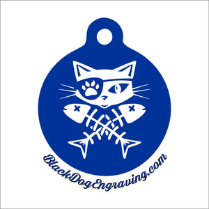 Cat Pirate Skull and Crossbones Personalized Pet Tag