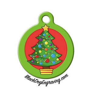 Christmas Tree Holiday Engraved Pet ID Tag