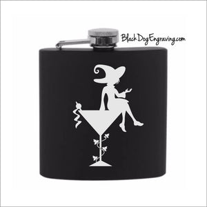 Cocktail Martini Witch Halloween Flask - Black Dog Engraving