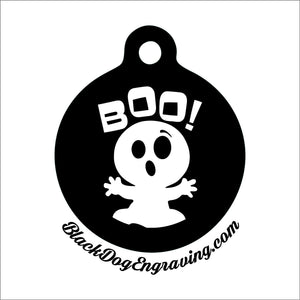 Cute Halloween Ghost Personalized Engraved Pet Tag - Black Dog Engraving